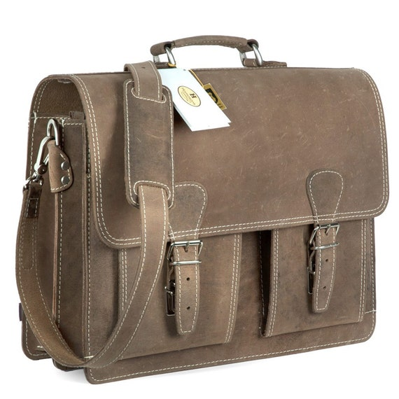 600 Brown Size L Leather Briefcase  Teacher Bag for Women and Men