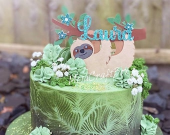 Pleasant Sloth Cake Topper Etsy Funny Birthday Cards Online Fluifree Goldxyz