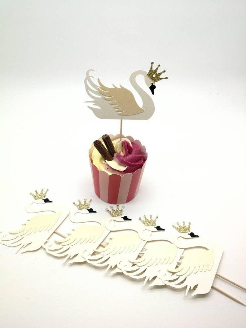 White Vintage Wedding Party Cupcake Cake Decoration Swan Gold Crown Birthday Decoration