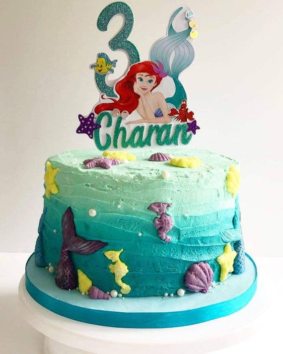 Tremendous Little Mermaid Ariel Birthday Cake Topper Add Name And Age Etsy Funny Birthday Cards Online Alyptdamsfinfo