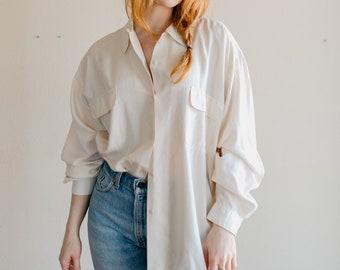 1bfb853b Vintage Oversized Silk Blouse | Cream Silk Button Up Shirt
