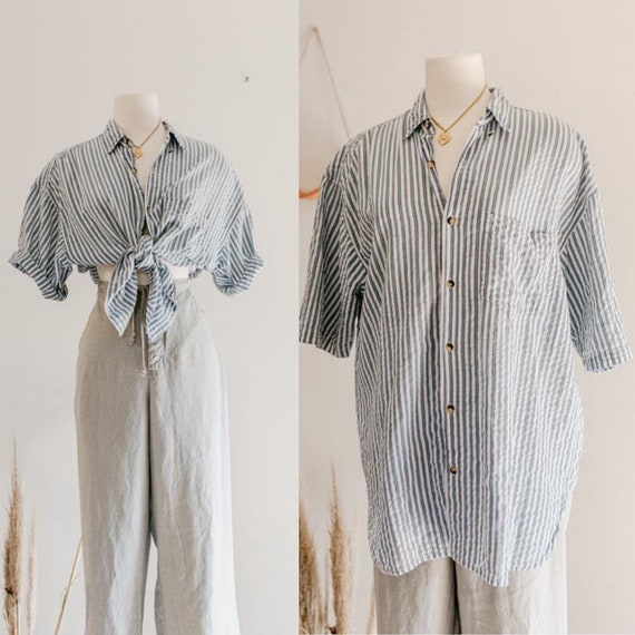 striped button up   blue and white vertical stripe