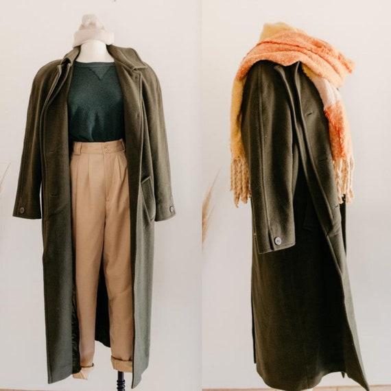 fern wool trench coat - XL | army green 100% wool