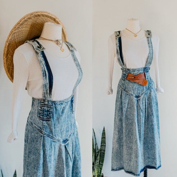 denim apron dress - size 9 | vintage acid wash den