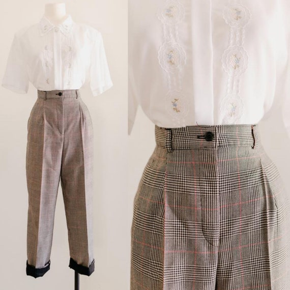 """wool plaid trousers - 28""""   discounted wool trouse"""
