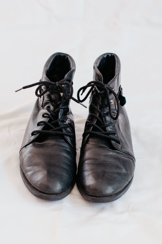 90s black buckled boots - 9 | leather lace up boo… - image 5