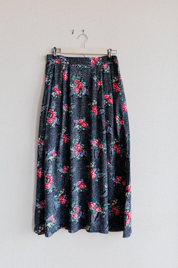 Vintage Floral Maxi Skirt / Pink Rose Skirt / Ecle