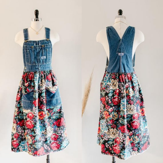 floral overall dress | overall dress | denim dress