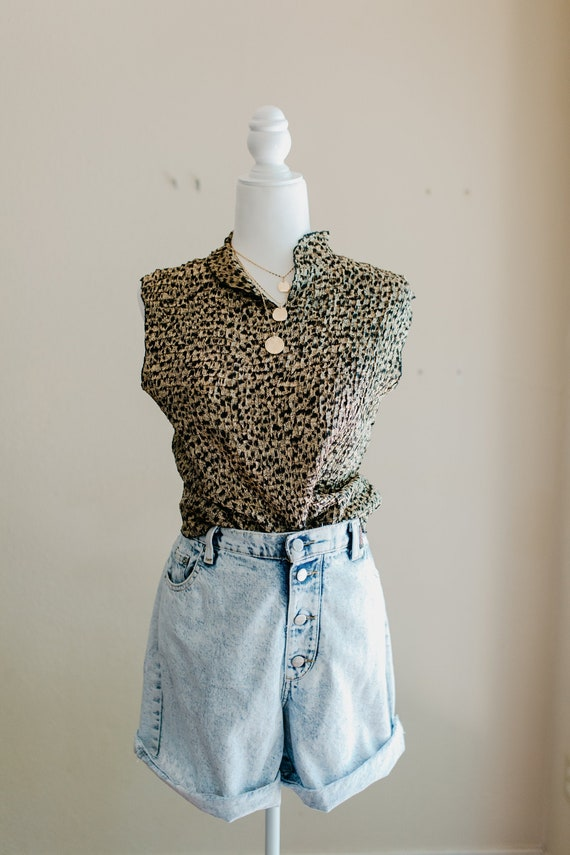 Animal Print Blouse | Spotted Blouse | Vintage Scr