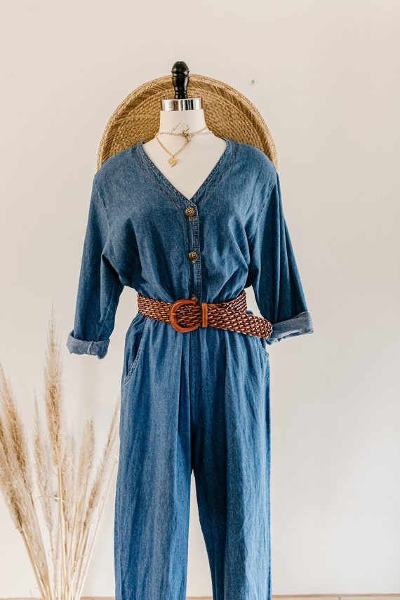 blue denim romper | denim pants jumper | blue cot… - image 7