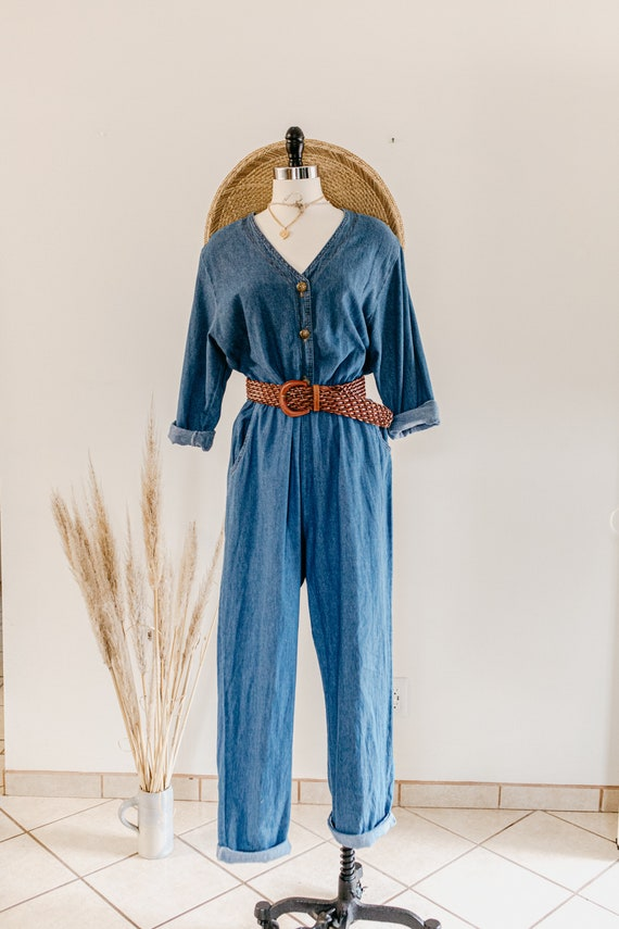 blue denim romper | denim pants jumper | blue cot… - image 6