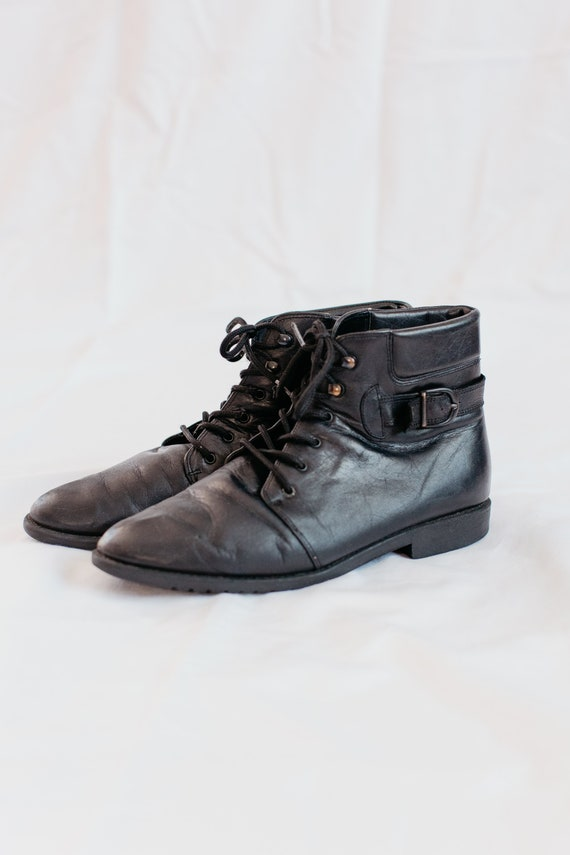 90s black buckled boots - 9 | leather lace up boo… - image 2