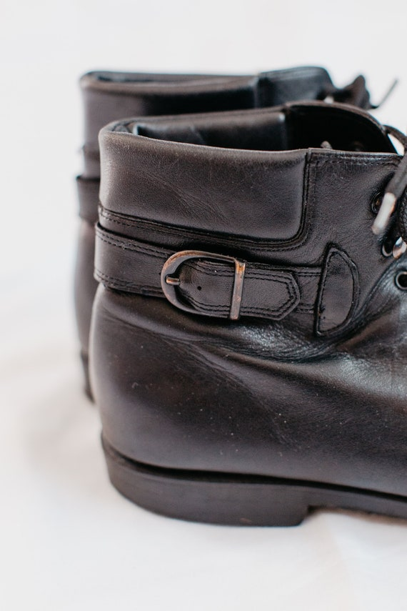90s black buckled boots - 9 | leather lace up boo… - image 6