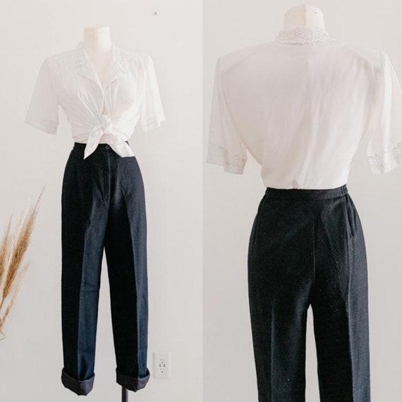 "black wool trousers - 26"" to 27""   wool black plea"
