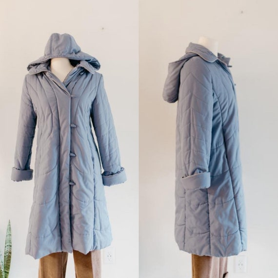 blue quilted puffer coat - M | vintage cornflower