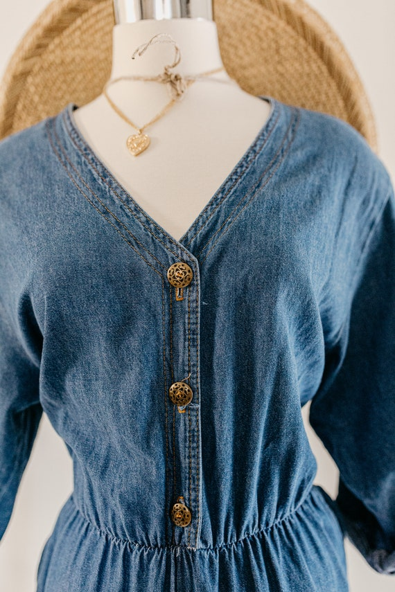blue denim romper | denim pants jumper | blue cot… - image 5