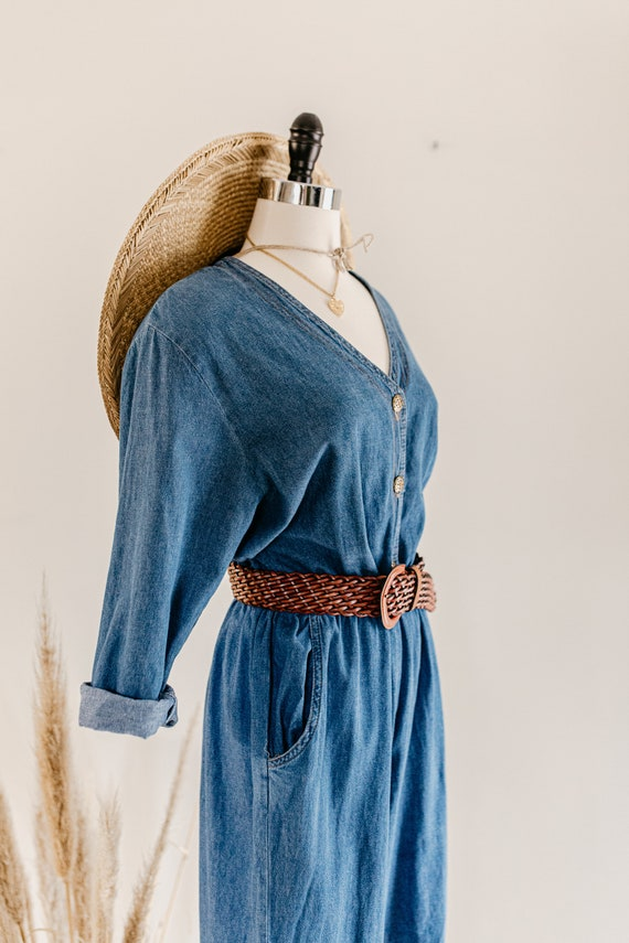 blue denim romper | denim pants jumper | blue cot… - image 9