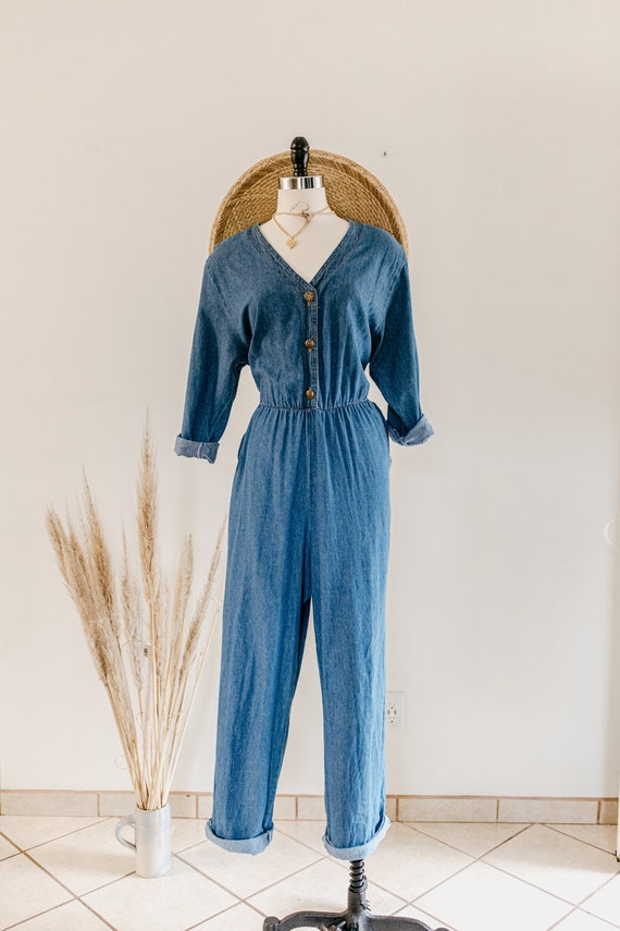blue denim romper | denim pants jumper | blue cot… - image 2