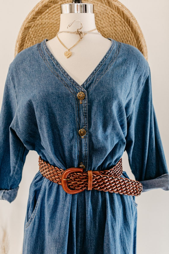 blue denim romper | denim pants jumper | blue cot… - image 8