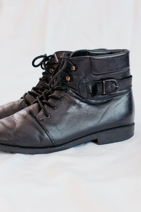 90s black buckled boots - 9 | leather lace up boo… - image 3