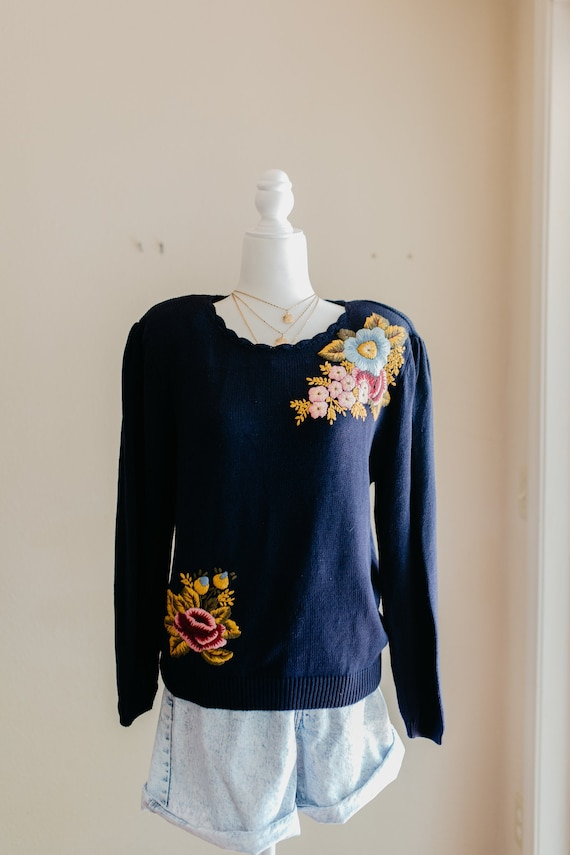 Vintage Floral Embroidered Sweater | Embroidered F