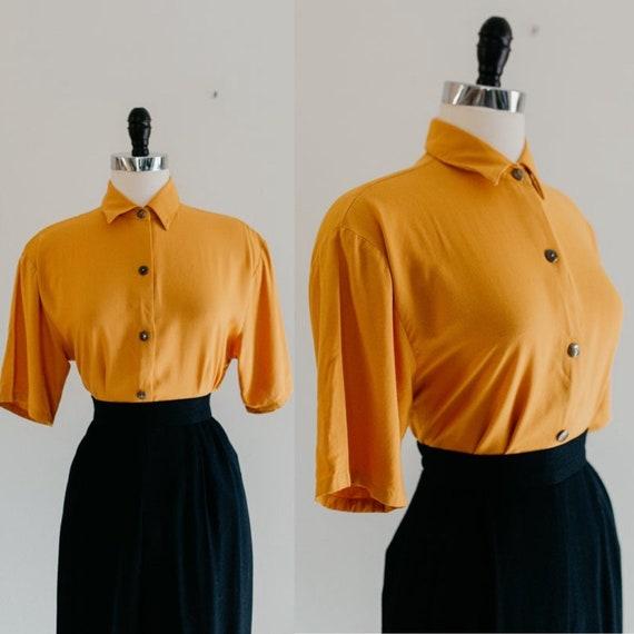 marigold button blouse - S | vintage mustard yello