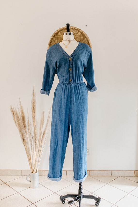 blue denim romper | denim pants jumper | blue cot… - image 3