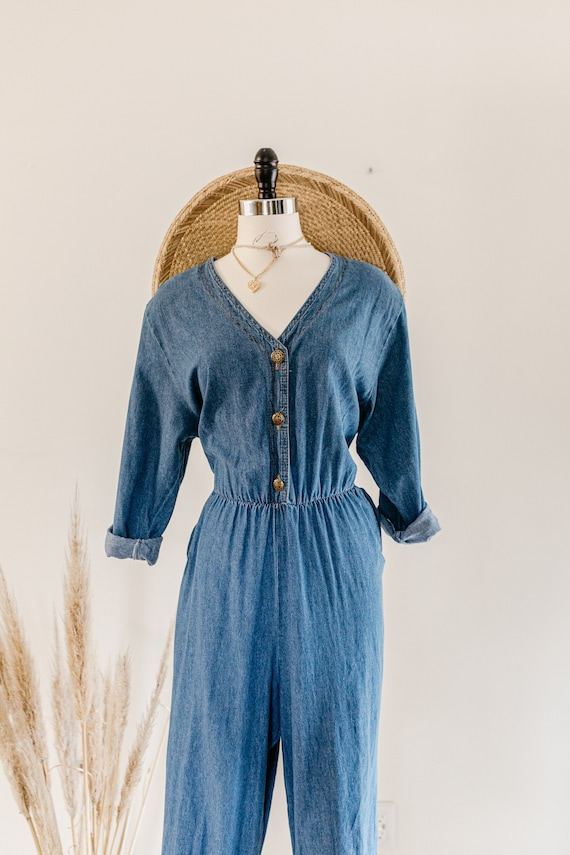 blue denim romper | denim pants jumper | blue cot… - image 4