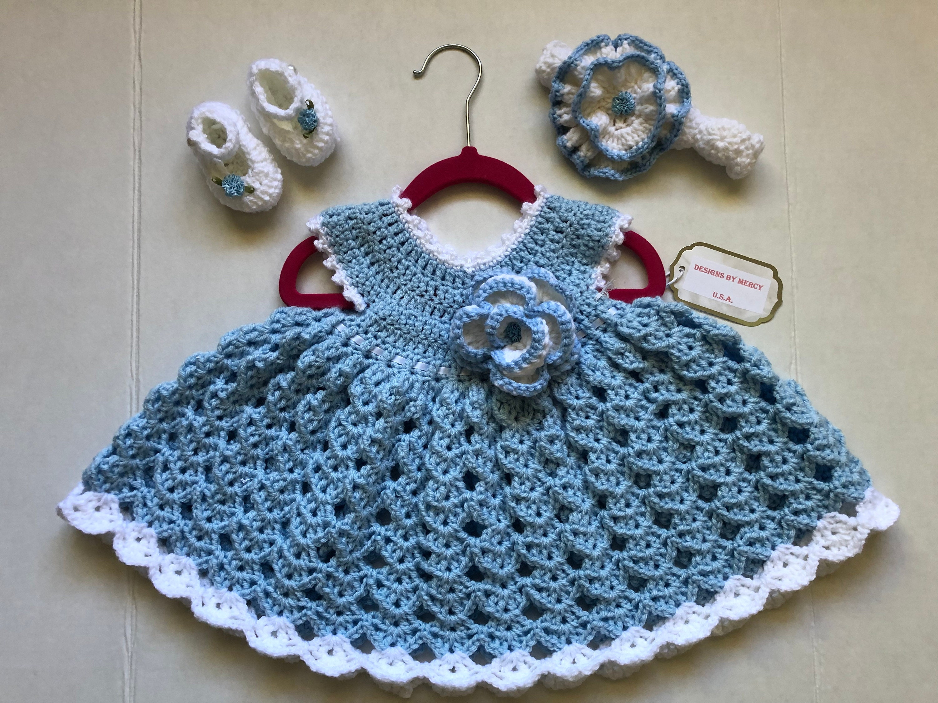 b9a7b9c578c1 Baby Crochet Dress Blue Crochet Baby Girl Outfit White Crochet