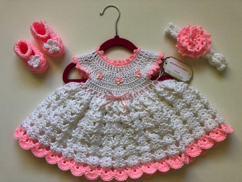 ae668a712937 Baby Crochet Dress Pink Crochet Baby Girl Outfit White Crochet