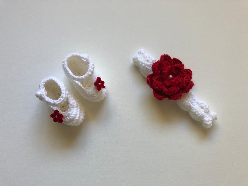 Baby Crochet Dress White Crochet Baby Girl Outfit White Crochet Baby Headband White Crochet Baby Booties White /& Red Newborn Crochet Outfit