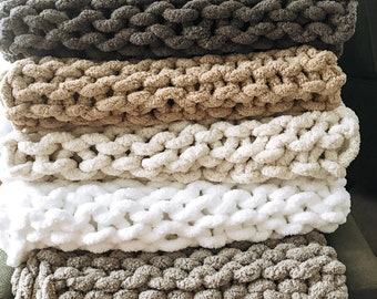 Chunky Hand Knit Blankets