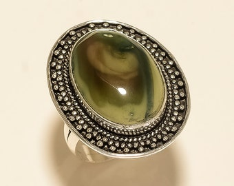 Excellent Natural Imperial Jasper Gemstone Anniversary Ring Women Jewelry Ring Gemstone Handmade Ethnic 925 Sterling Silver Ring Size 8