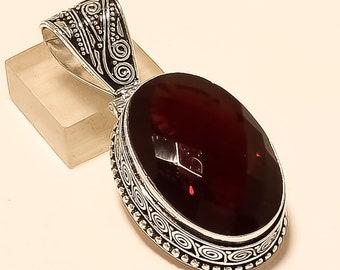 Woman Pendant , Garnet Pendant, Vintage Jewelry, 925 Pendant 925 Sterling Silver Plated Pendant, Garnet Jewelry, Gift For Woen, Gift Jewelry