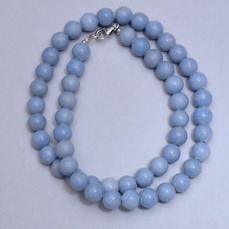 AAA Blue White Angelite Smooth Round 9MM Beaded Necklace-Blue spiritual Gemstone-Pastel Angelite Jewelry-Healing Angel Stone-Anhydrite Stone
