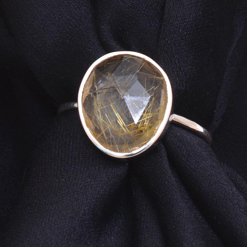 Gypsy Ring Bohemian Ring 925 Sterling Silver Ring- AM-036 Golden Rutile Gemstone Ring Handmade Ring Golden Rutile Ring