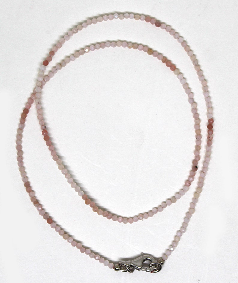 Quality Pink Peruvian Opal 2MM Micro faceted Roundel Beaded Necklace-18long handmade Peru Opal gemstone Necklace-Tiny opal Bead Rarest AAA