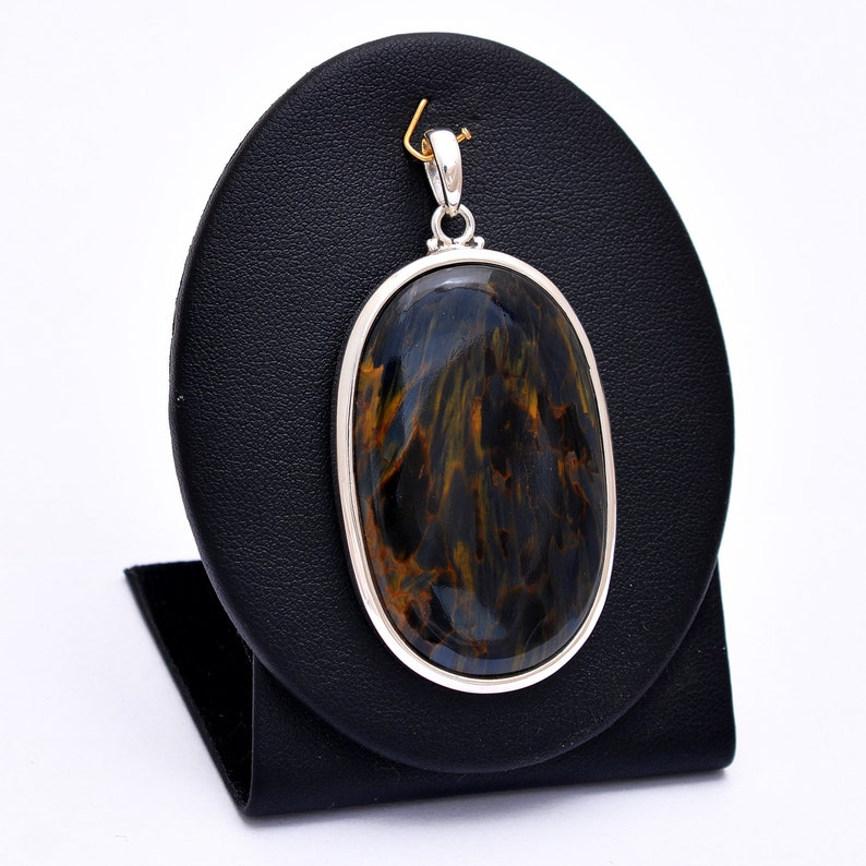 UNIQUE-Rare Vintage Oval PIETERSITE Fancy Blue Gold Gemstone 925 Silver Pendant Necklace-Pietersite Handmade Pendant-Tempest Stone