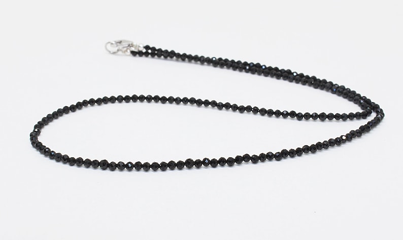Black Spinel Beaded Necklace-Minimal Spinel Necklace-UNISEX Gemstones necklace-Mens /& Women jewelry-Black spinel beaded necklace-Silver Lock