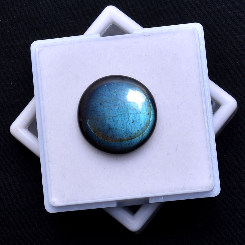 SPARK Deep Blue Fire Round Smooth Labradorite Cabochon-Natural Gemstone-Flashy Jewelry Stone-21X21X7MM Grey Cabochon-Loose Stone-25 CT AAA