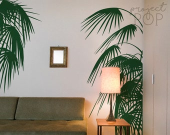 Tropical Vibes Palm Leaves Wall Decal For Home And Office, Shop Window Decor