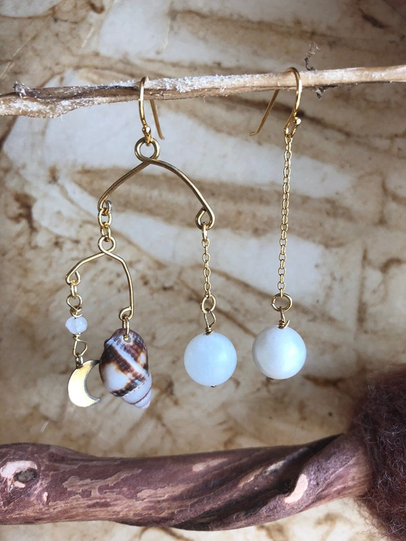 Earring Lunar Love symmetric with moonstones golden moon image 0