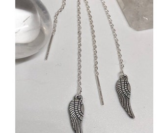 Feather earrings, sterling silver chain, energy jewellery