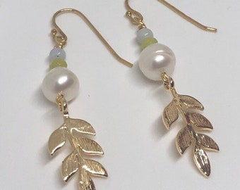Golden leaf earrings, freshwater pearl, green and blue jade, 18 ct gold plated sterling silver ear hooks, energy jewellery