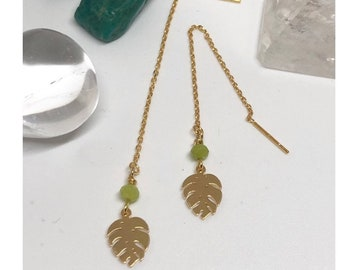 Monstera chain earrings, green jade, 18ct gold plated sterling silver chain, energy jewellery