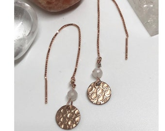 Rose gold plated sterling silver chain, moonstone, rose gold plated coin, energy jewellery