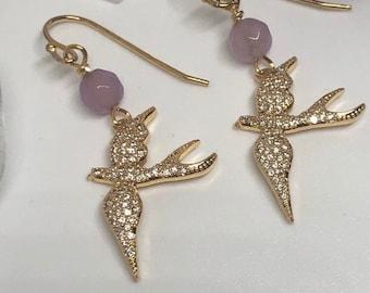 Swallow bird earrings, zirconia, purple jade and 18 ct gold plated sterling silver ear hooks, energy jewellery.