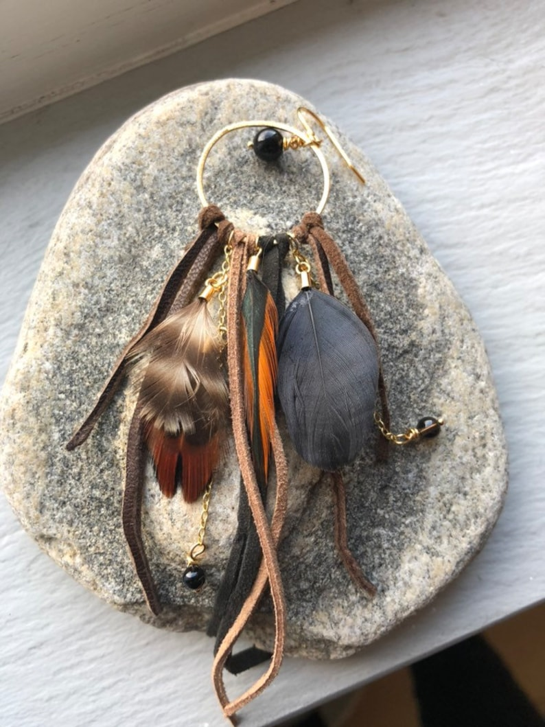 Shamanic Brown feather leather earring. Single earring. image 0