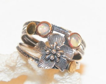 Size 8.25 Sterling Silver Opal Ring With Multi Metal And Flower, Solid 925 Opal Ring, All Silver W 2 Brass Balls And Copper Around Stones