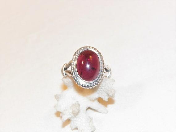 Vintage Sterling Silver Nepal Double Bohemian Garnet Ring  Size 6  34